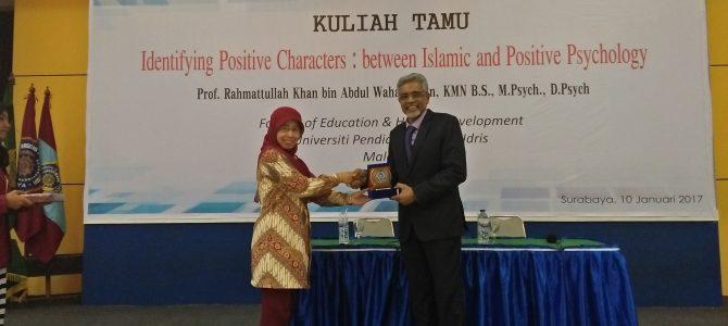 Kuliah Tamu Prof. Rahmattullah Khan bin Abdul Wahab Khan, KMN B.S, M.Psych, D.Psych